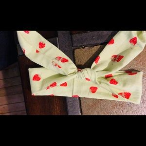 Green strawberry head wrap 6-18 months. Hand made
